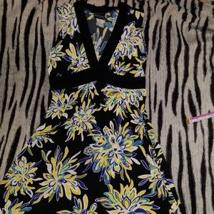 Womens black and yellow floral dress size 8